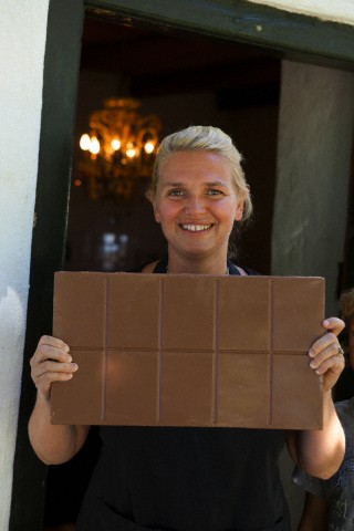 Woman showing chocolatebar