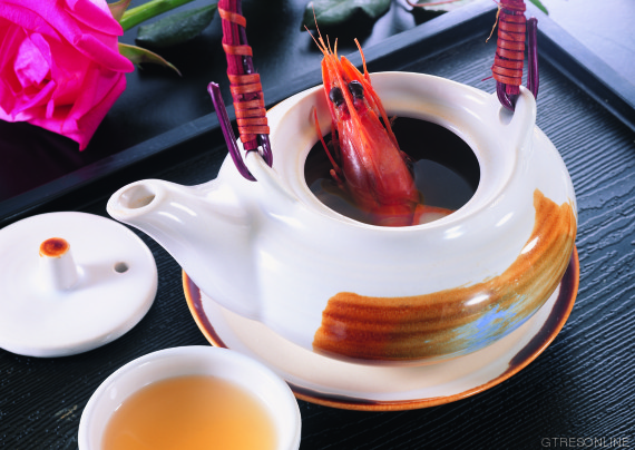 Foods Color image  food  tray  tea pot  tea cup  soup  shrimp  rose