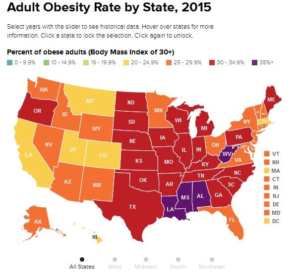 Indices de obesidad en EEUU 2015